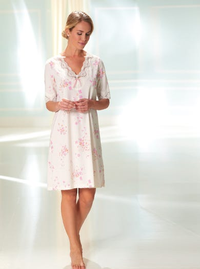 0136 - Fleur Rose - Gezellig jerseykatoenen nachthemd