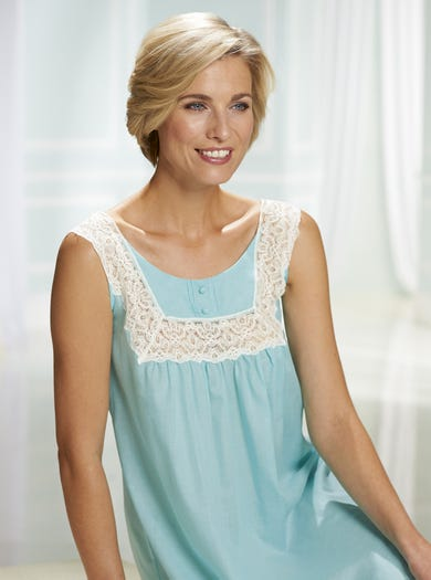 0500 - Green - Woven Cotton Sleeveless Nightie