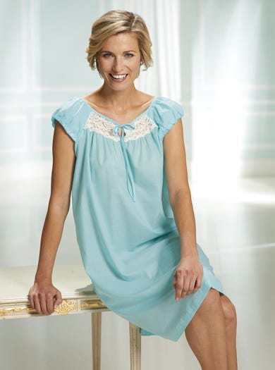 0506 - Green - Pure Cotton Voile Nightshirt