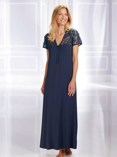 0572 - Navy - Luxury Lace Nightdress