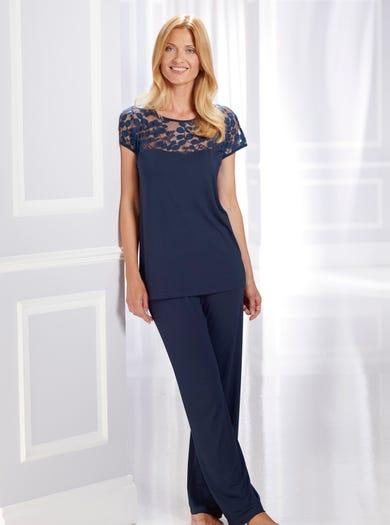 0575 - Bleu marine - Pyjama-tunique en jersey et dentelle
