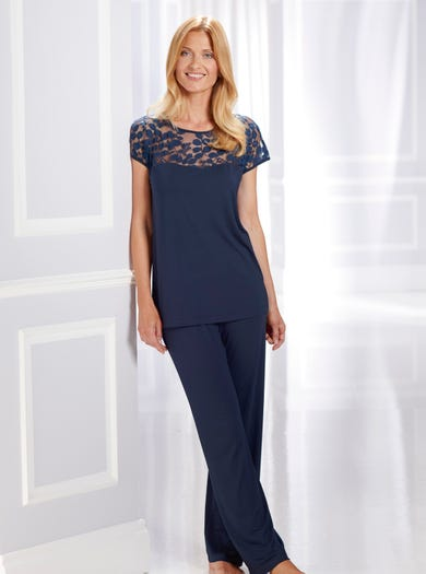 0575 - Navy - Elegant Jersey and Lace Pyjamas