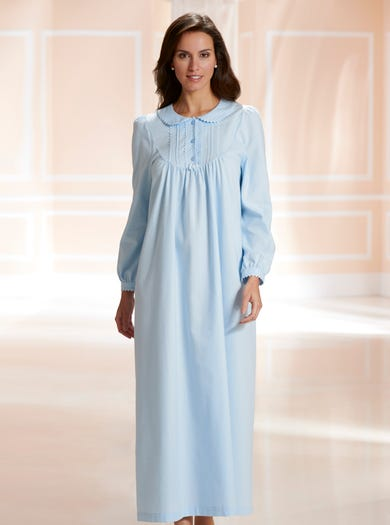 0611 - Blue - Warm Long Sleeved Nightie
