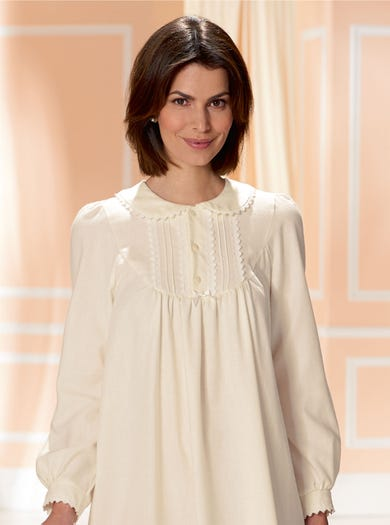 0611 - Ivory - Warm Long Sleeved Nightie