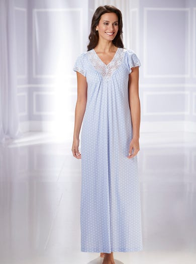 0672 - Blue - Soft Cotton Jersey Nightdress