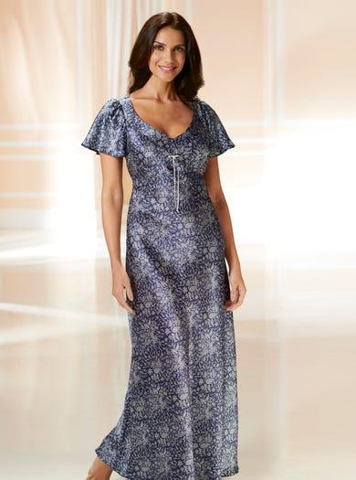 0701 - Blaue Starflower - Nachtkleid aus reiner Seide