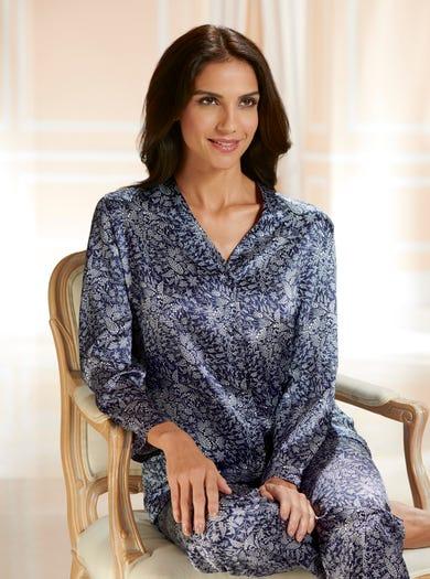 0705 - Blue Starflower - Pure Silk Pyjamas