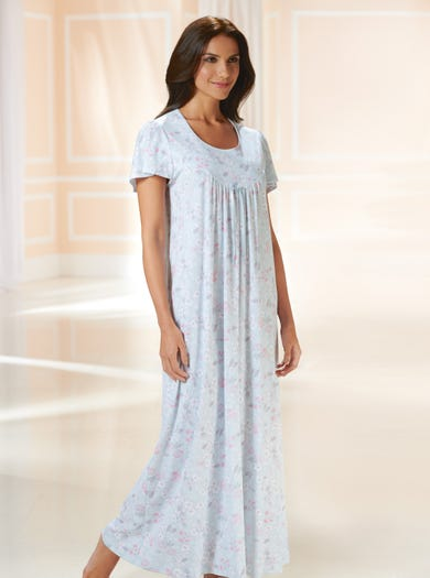 0780 - Blaue Blümchen - Bequemes Nachtkleid aus Baumwolljersey
