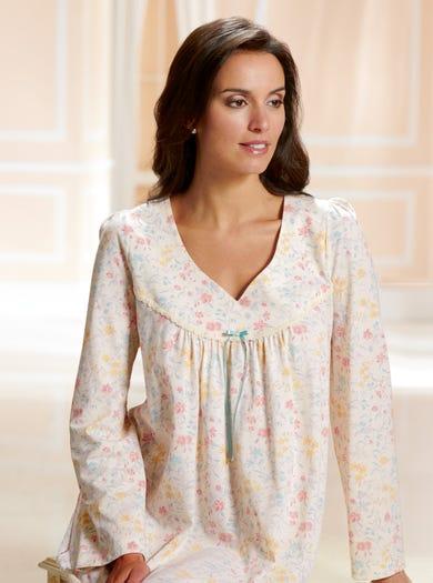 0793 - Bouquet - Warm Cotton Jersey Nightdress