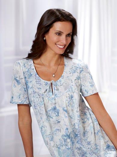 0794 - Blau - Luxuriöses Nachtkleid