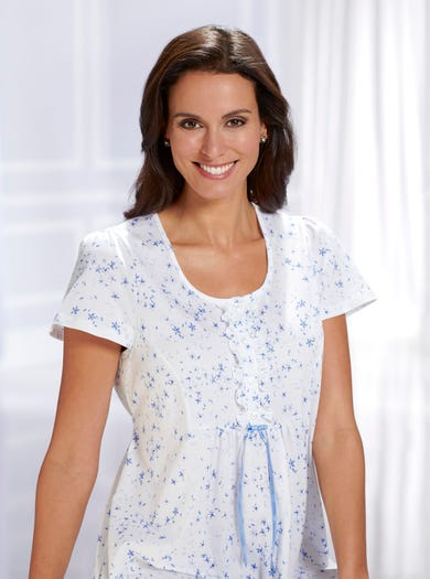 0821 - Confetti - Short Sleeve Cotton Jersey Nightie