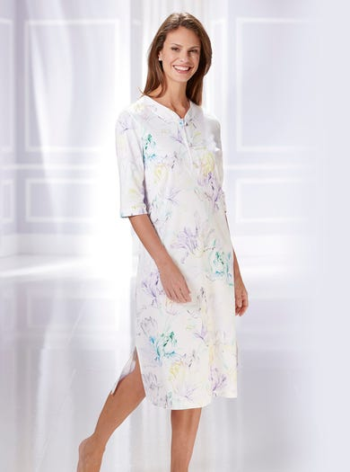 0856 - Watercolour Blue - Soft Cotton Nightshirt