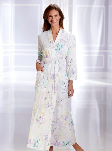 0858 - Watercolour Blue - Soft Jersey Kimono Dressing Gown