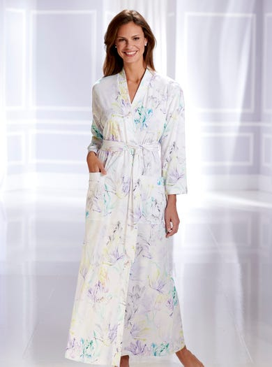 0858 - Watercolour Blue - Soft Jersey Kimono Dressing Gown