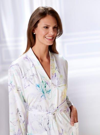 0858 - Lichtblauw Pastel - Jerseykatoenen kimono ochtendjas
