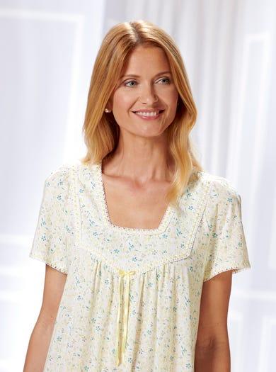 0866 - Alpenrose - Nachtkleid aus weichem Baumwolljersey