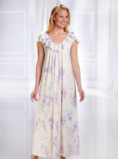 0882 - Pastell - Luxuriöses Jerseynachtkleid