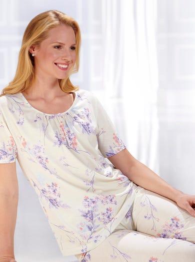 0885 - Pastel - Pyjama-tunique en jersey de coton imprimé