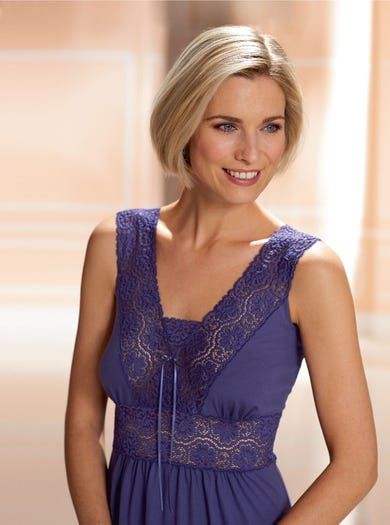 0940 - Amethyst - Lace Jersey Nightdress