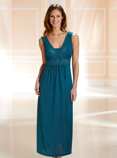 0940 - Blaugrün - Nachtkleid aus Spitze und Jersey