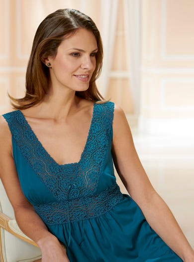0940 - Teal - Lace Jersey Nightdress