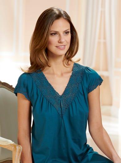 0942 - Blaugrün - Nachthemd aus weichem Baumwolljersey