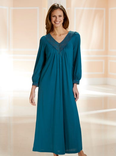0943 - Teal - Cosy Lace-Trimmed Nightdress