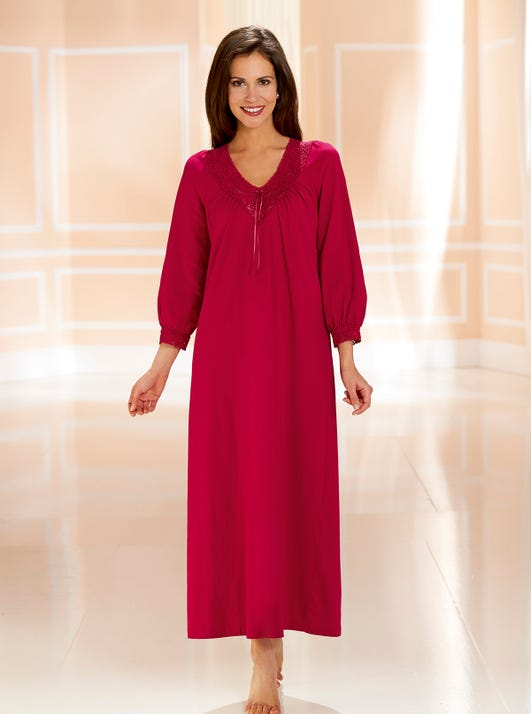 Cosy Lace-Trimmed Nightdress