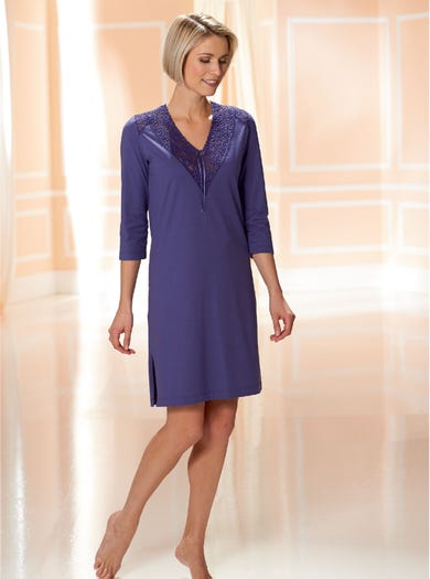 0947 - Amethyst - Stretch Lace-Trimmed Nightshirt