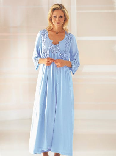 Buttoned Through Nightdress or Soft Lightweight Peignoir