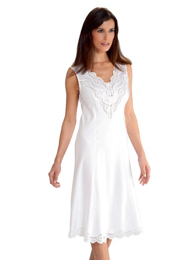 1727 - White - Pearl Satin Full Slip