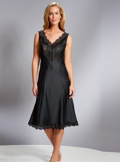 1727 - Black - Pearl Satin Full Slip