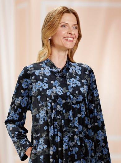 3070 - Blau - Luxuriöser Mantel aus Samtvelours