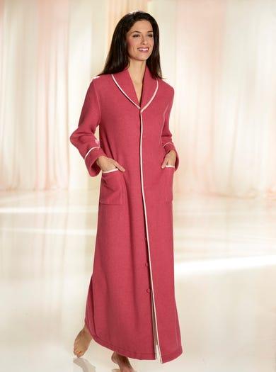 3178 - Rouge - Elegante fleece ochtendjas