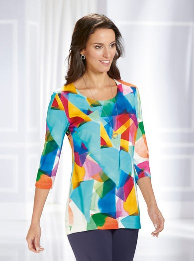 3190 - Geometric - Supersoft Tunic Top