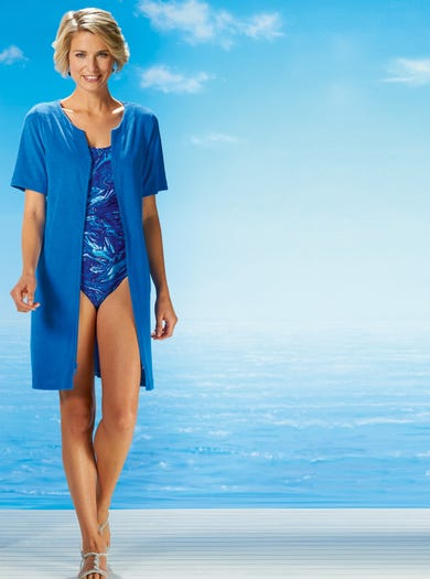 3621 - Cornflower Blue - Soft Towelling Cover-Up