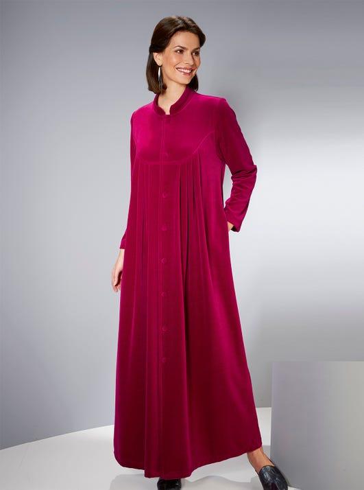 Cosy Buttoned Velvet Velour Gown