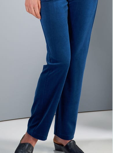 3719 - Teal - Soft Velvet Velour Trousers