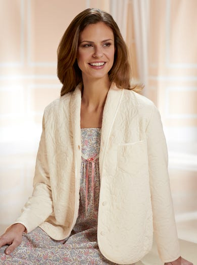 3764 - Ivory - Soft Quilted Bed Jacket