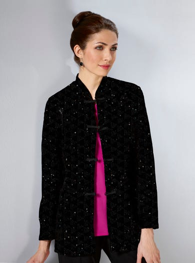 Sequinned Velvet Velour Jacket