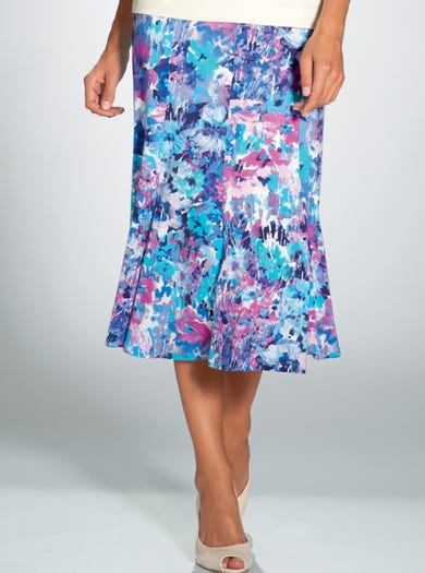 4126 - Floral - Luxury Stretch Jersey Skirt