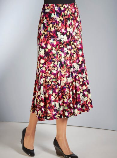 4146 - Floral - Soft Pull-on Jersey Skirt