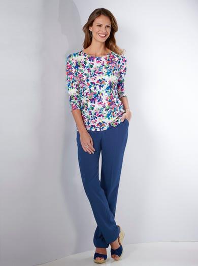 4260 - Tutti frutti (fond rosé) - Haut en jersey stretch imprimé