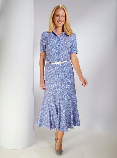 4296 - Lobélia bleu - Jupe confortable en jersey imprimé