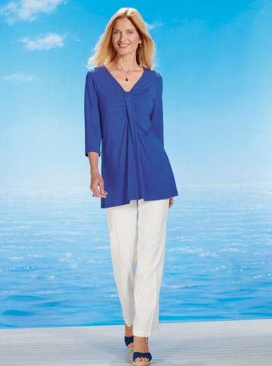 4351 - Bleu Cobalt - Tunique en jersey mat uni