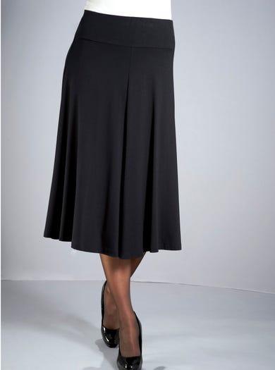 4406 - Black - Soft Stretch Jersey Skirt