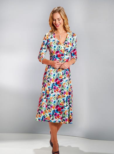 4563 - Kew Gardens - Flattering Jersey Wrap Dress