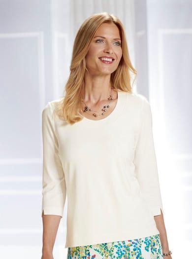 4711 - Ivoor/Crème - Veelzijdige zachte jersey top
