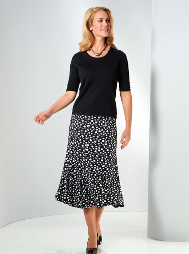 4736 - Black/White - Fit and Flare Jersey Skirt