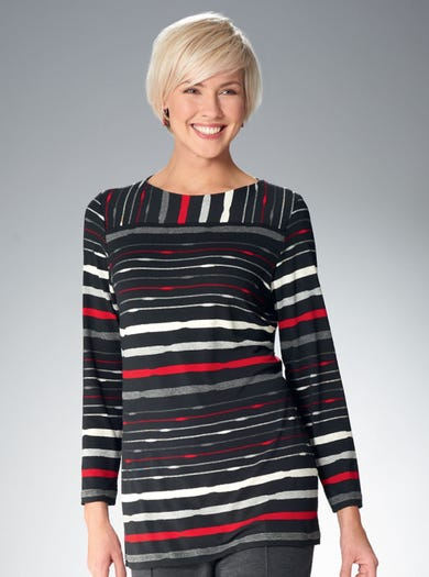 4824 - Charcoal/Red - Fine Jersey Tunic